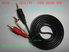 "6 FT 3.5mm 1/8"" Male Stereo plug Jack to 2 RCA Stereo Phono Audio Speaker CABLE"