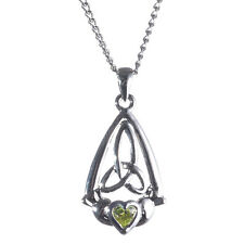 Celtic Trinity Silver Plated Claddagh Triquetra Green Crystal Pendant Necklace Z