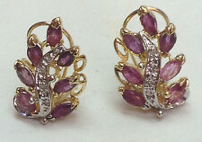 2 Ct natural RUBY Natural DIAMOND Birthstone Earrings Solid 14K yellow gold
