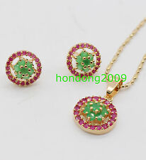 Natural RED Ruby &Green Emerald  Necklace Earrings Round Jewelry   Set