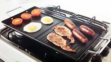 Kitchen Dual Hob Carbon Steel Non Stick Griddle Plate BBQ & Dual Hob Grill Pan