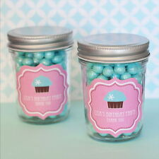 24 Personalized Cupcake Party Theme Mini Mason Jars Baby Shower Favors