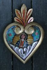 Hand Carved & Painted Heart, Our Lady of Guadalupe Mexican Folk Art Pink leaves