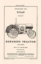 International Harvester Titan 10-20 HP Kerosene Tractor Operators Manual IH