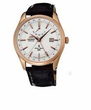 New Orient Automatic GMT Classic SDJ05001W0 Mens Leather Watch Japan Rose Gold