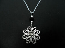 A LOVELY TIBETAN SILVER FLOWER THEMED NECKLACE. NEW.
