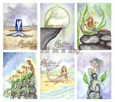All in a Day MERMAID NOTE CARDS from Original Watercolors by Camille Grimshaw