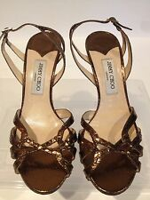 JIMMY CHOO SNAKE EMBOSSED LEATHER OPEN FRONT BRONZE SANDALS SZ. 40.5