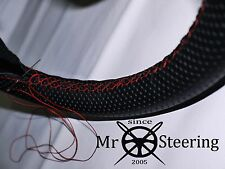 FITS MUSTANG COUGAR 67-70 PERFORATED LEATHER STEERING WHEEL COVER RED DOUBLE STT