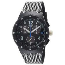 Swatch SUSB407 Men's Black Dial Chrono Black & White Strap Watch