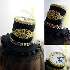 Black Gold Gothic Victorian Steampunk Clock Mini Top Hat Alice Halloween Costume