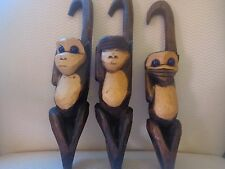 """""""See, Hear and Speak No Evil"""" Hanging, Hand Made, Wooden Monkey Set."""