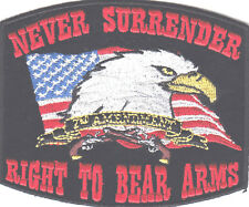 """NEVER SURRENDER RIGHT TO BEAR ARMS""-EAGLE-FLAG-NRA-BIKER-MILITARY-IRON ON PATCH"
