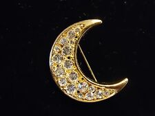 Vintage Gold Tone Super Sparkle Clear Rhinestone Crescent Moon Brooch Pin