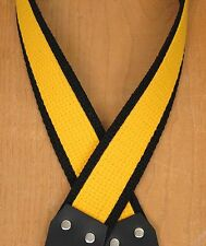 RALLY YELLOW & Black Super Solid Cotton  A &  F-style TROPHY USA Mandolin Strap