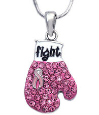 Fight Against Breast Cancer Pink  Ribbon Boxing Glove Pendant Necklace  n10