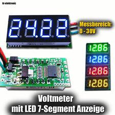 LED Voltmeter Ziffernanzeige 4-stellig Display blau 0 - 30 V Messbereich