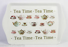 Tea Time Teapots Cups Saucers Small Tray New Snack Dish Gift Present NEW