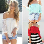 Womens Summer Lace Sexy Off-shoulder Loose Casual T-Shirt Blouse Tops Size 6-14