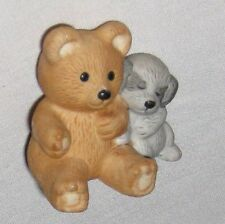 "Brown Gray 1 1/2"" Ceramic Teddy Bear w Dog Figurine"
