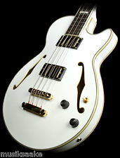 D´ANGELICO EX BASS SEMI HOLLOW BODY WEISS WHITE CASE KOFFER FREI HAUS D WOW!