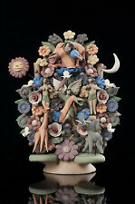 GENESIS TREE OF LIFE miniature clay folk art from Mexico. Adam & Eve at Eden.