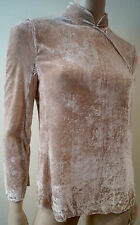GIORGIO ARMANI Nude Beige Velvet High Neck Long Sleeve Evening Blouse Top 38 UK6