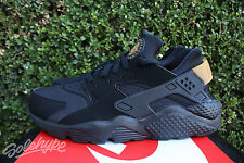 NIKE AIR HUARACHE SZ 13 BLACK METALLIC GOLD PACK RUN 318429 025