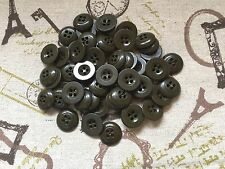 15 Original WW2 British Army Shirt Blouse Buttons 17mm Military Green (211)
