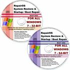 Windows 7 2 Disc PACK: BOOT / STARTUP Repair & Restore / Recovery CDs + DOWNLOAD