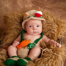 Crochet baby newborn through 12 mos fishing fisherman outfit photography props A