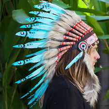 FAST! Feather Headdress -Native American Indian style War Bonnet- Turquoise Duck