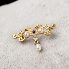 Broche Fleur Mini Perle Retro Vintage Ancien Noir Original Soirée Mariage XZ 4