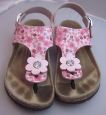 Birkenstock Betula Girls Thong Sandals Pink Floral size 32 youth 1-1.5 VGUC
