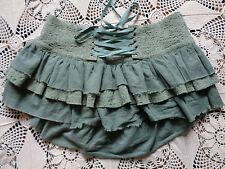 Lip Service Blacklist gothic steampunk pale sage seafoam green bustle skirt L