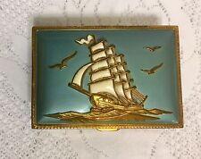 Vtg Brass Stamp Box Enameled Lid Ship