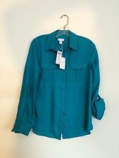 Nwt Chico's Dark Turquoise Long Sleeve-wendy-polyester Blouse Sz. S. 0