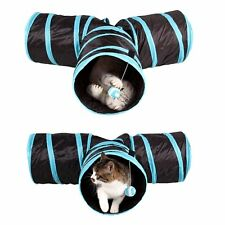 Pet Cat Tunnel Toys Crinkle Collapsible 3 Way Rabbit Kitten Playing Tunnel Toy