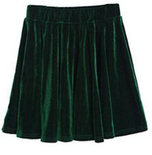 Vintage High Waisted Velvet Skater Pleated A-line Short Elasticized Soft Skirt