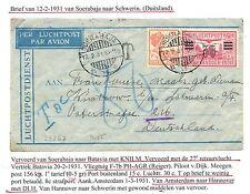 NED INDIE 1931-2-12   FLIGHT COVER =SOERABAJA-SCHWERIN-GERMANY  =   F/VF