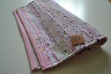 Pink Pastel Chindi Rag Rug Handmade Recycled Cotton 90x150cm 3x5ft Hemmed