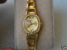 Q&Q by Citizen Gold Tone Lady Dress Watch w/Diamond Bezel