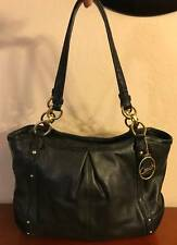 COACH ALEXANDRA BLACK LEATHER CHAIN TOTE SHOULDER BAG (F20812)