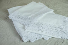 BEAUTIFUL LACE EDGE WHITE FLAT SHEET SUPER KING SIZE 100% COTTON 200 THREAD
