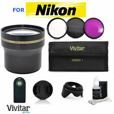 52MM 3.7X TELEPHOTO ZOOM LENS + REMOTE+FILTER KIT FOR NIKON D3000 D3100 D3200