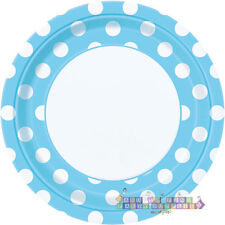 POWDER BLUE POLKA DOTS LARGE PAPER PLATES (8) ~ Baby Shower Party Supplies Boy