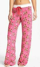 PJ Salvage Fuchsia XMAS OWLS Lounge Pants Large VINTAGE VELOUR NEW