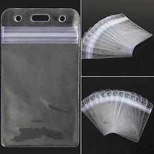 10Pcs Vertical Transparent Vinyl Plastic Clears ID Card Badge Holder Office best