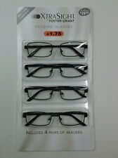 4 Pack FOSTER GRANT Axton Style READING GLASSES +1.75 NEW