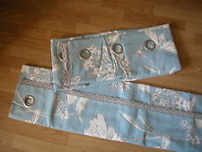 NEXT CURTAINS CORNFLOWER COUNTRY FLORAL POWDER BLUE EYELET LINED  53X54""